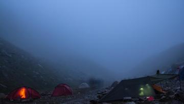 Tent town in the foggy Mountains