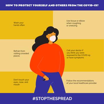 #StopTheSpread of Coronavirus with Woman wearing Mask