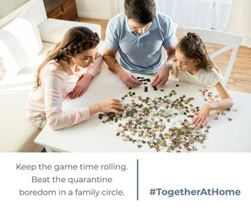 #TogetherAtHome Family with daughter playing games