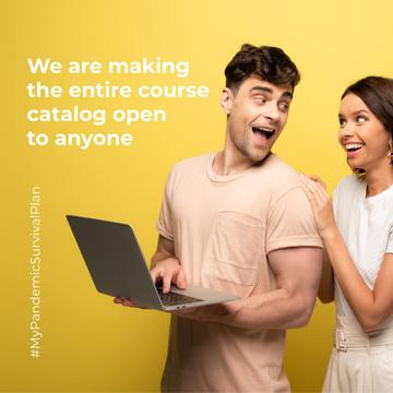 #MyPandemicSurvivalPlan with Happy Couple holding laptop