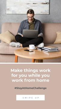 #StayAtHomeChallenge Man with laptop working on sofa