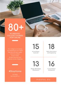 #StayHome Online Education Courses on Laptop