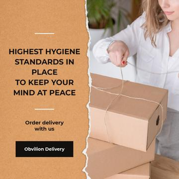 Highest Hygiene Standards Delivery Services Woman with boxes