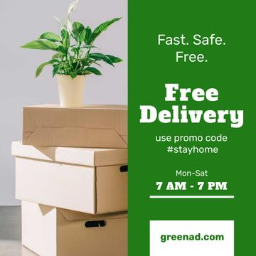 #StayHome Delivery Services offer with boxes and plant