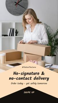 #FlattenTheCurve Delivery Services offer Woman with boxes