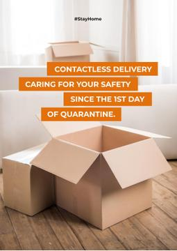 Contactless Delivery Services offer with boxes