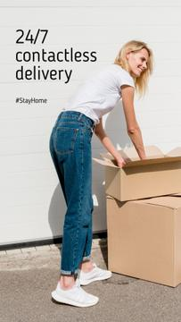 #StayHome Delivery Services offer Woman with boxes