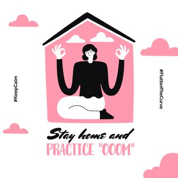 #KeepCalm challenge Woman meditating at Home