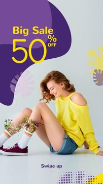 Fashion Ad with Happy Young Girl in Yellow