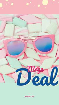 Stylish pink Sunglasses on marshmallows