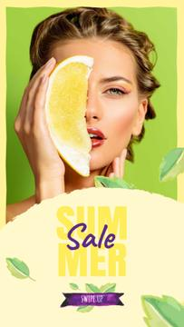 Summer Sale with Woman holding Pomelo fruit