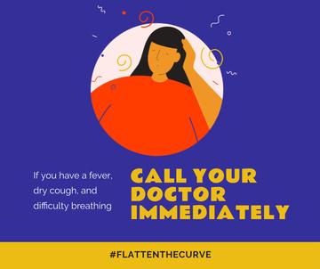 #FlattenTheCurve Coronavirus symptoms with Ill Woman