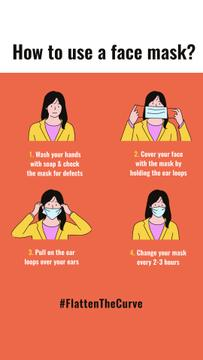 #FlattenTheCurve safety rules with Woman wearing Mask