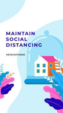 #StayAtHome Social Distancing concept with Home under Dome