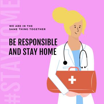 #Stayhome Coronavirus awareness with friendly Doctor