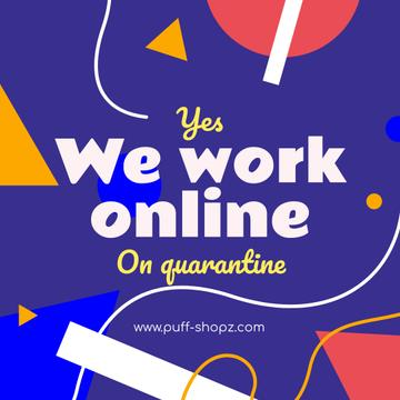 Working Online Quote with colorful geometric figures