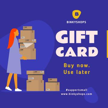 #SupportSmall Gift Card Offer with Girl holding boxes