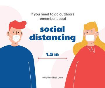 #FlattenTheCurve Reminder of Social Distance between People
