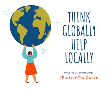 #FlattenTheCurve Citation about helping community with Woman holding Earth