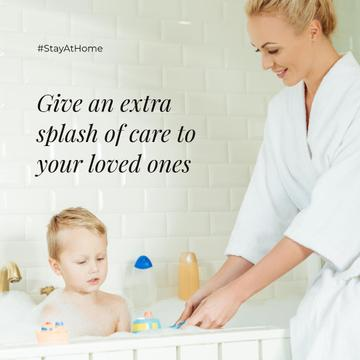 #StayAtHome Mother bathes little Child with toys