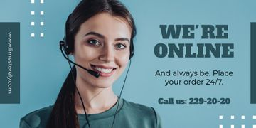 Online services Ad with Smiling Support Operator