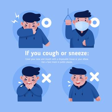 Covid-19 prevention instruction with Man sneezing