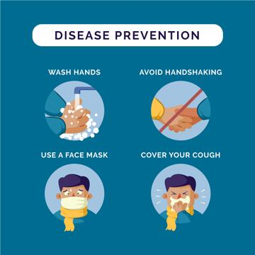 Disease prevention instruction with Man sneezing