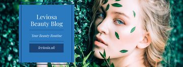 Beauty Blog with Woman in Green Leaves