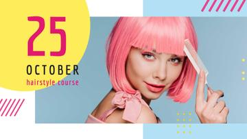Hairstyle Course Ad Girl with Pink Hair