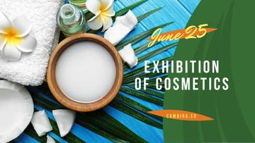 Exhibition of Cosmetics Ad with green leaves and Flower