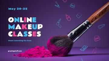Online Makeup Classes Ad with Brush and Powder