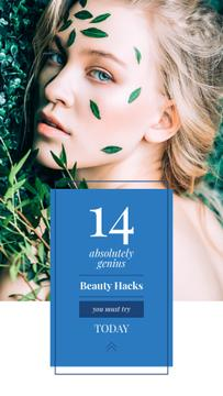 Beauty Hacks Ad with Woman in Green Leaves