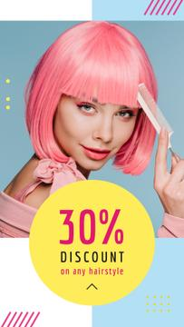 Hairstyle Discunts Ad Girl with Pink Hair
