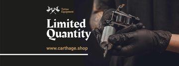 Tattoo Equipment Offer with Artist holding Machine