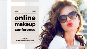Online Makeup Conference Annoucement with Beautiful Young Woman