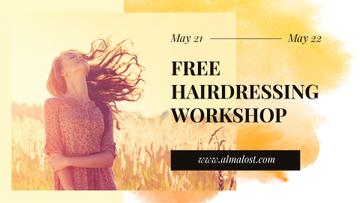 Hairdressing Workshop Ad with Young Girl in field