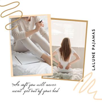Pajamas Shop Offer with Woman in bed