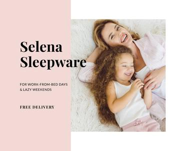 Sleepwear Deliivery Offer with Mother and Daughter in bed