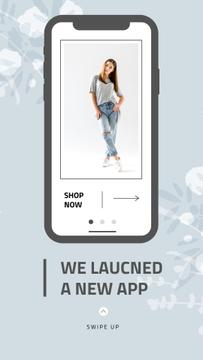 Online Shop Ad with Stylish Woman on Screen