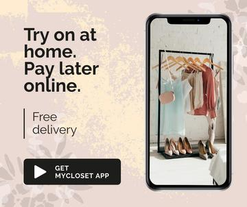 Online Shop Ad with Closet on Phonescreen