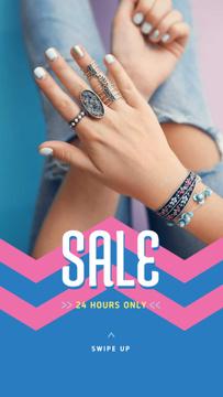 Jewelry Sale Woman in Precious Rings
