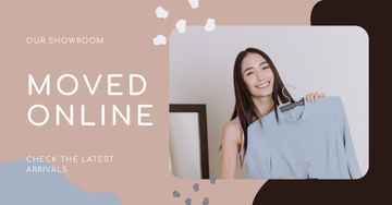 Online Showroom Ad with Smiling Woman holding Dress