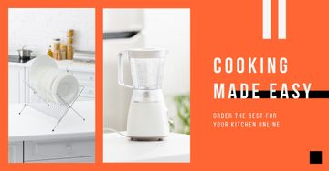 Blender Offer with Tableware in White Kitchen