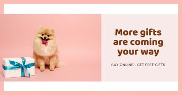 Gift Offer with Cute fluffy Puppy