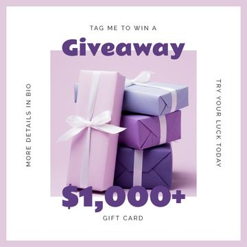 Gift Card Ad with Purple Gift Boxes