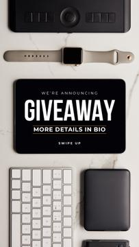 Giveaway Ad with Electronic Gadgets on table