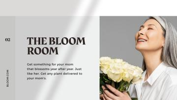 Flowers Delivery Offer on Mother's Day with smiling Mom