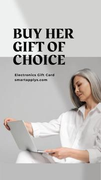 Electronics Gift Offer on Mother's Day Woman with laptop
