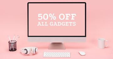 Gadgets Discount Offer with pink workplace