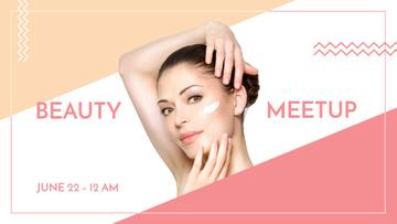 Woman applying Cream at Beauty event